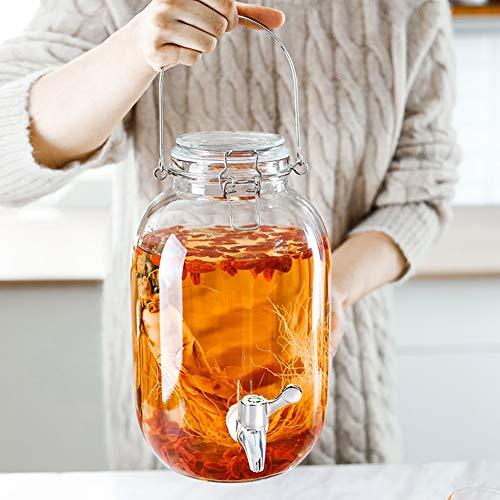 Glazen drankdispenser voor waterkraan, glas met deksel voor koude spigot drankjes/punch/ijswater 3.2l-round