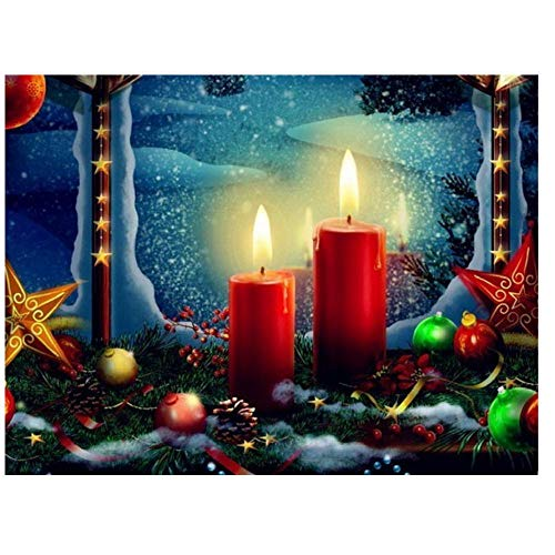 5D Diamond Painting Kit by Numbers DIY Crystal Art Kits Rhinestone Cross Stitch Embroidery Arts Craft Picture Supplies for Home Wall Decor Christmas Candle Landscape-1 16 * 20inch