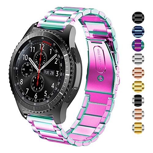 DEALELE Kompatibel Samsung Gear S3 Uhrenarmband 22mm Solider Edelstahl Metall Ersatz für Armbands, Falls zutreffend Samsung Gear S3 Frontier/Classic/Galaxy Watch 46mm Damen Herren (Regenbogen)