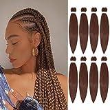 Aliabsion Pre-stretched Braiding Hair Brown 26 inch - 8 Packs Pre Stretched Braiding Hair Synthetic Crochet Braids Braid Crochet Hair Extensions for Braiding (26 inch, 30#)