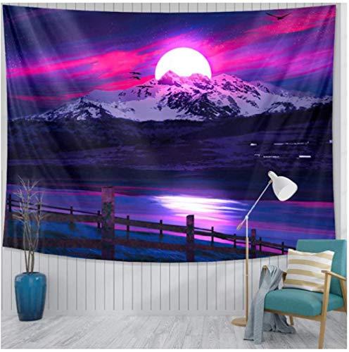 DGSJH Tapiz Universo Galaxy Aurora Luna Bajo el cielo nocturno Fondo impreso Tapiz Decoración de pared Tela Bohemia Hippie 150x200cm