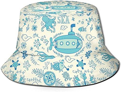 Patrn de aventura marina ornamentado con fauna submarina submarina y coral unisex impresin doble cara de desgaste reversible, cubo de verano plegable sombrero de playa