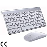 2.4G Teclado Y Mouse Inalámbricos Mini Teclado Multimedia Mouse Combo Set para Notebook Laptop PC De Escritorio TV Suministros De Oficina,Silver