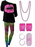 Blulu 80 Jahre Damen Kostüm Set, T Shirt, Legging Hose Ohrring Halskette Handschuhe Armband (Kurz...