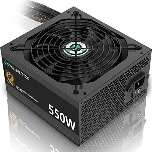MUSETEX 550 Watt Power Supply 80+ Bronze Certified with 14cm Slient Fan Non-Modular CPU Power Supply