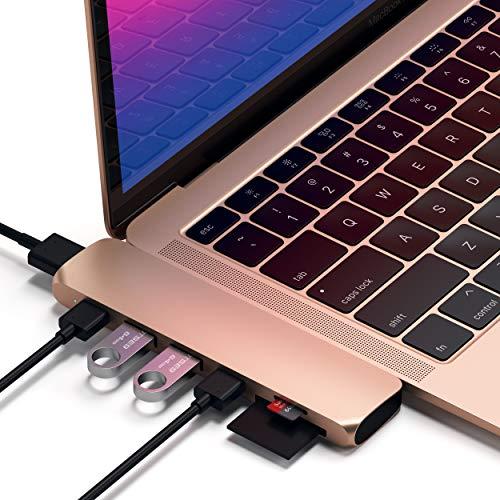 Satechi - Adaptador de aluminio tipo C Pro con USB-C PD (40 GBS), 4K HDMI, USB-C datos, SD/Micro lector de tarjetas, USB 3.0 - Compatible con MacBook Air 2020/2018, 2020/2019/2018 MacBook Pro (oro)