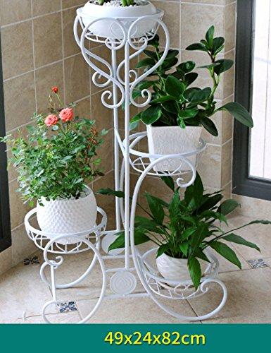 XIAOLIN- Le fer Assemblée Porte-fleurs Plusieurs couches sol Style de plancher Porte-fleurs balcon Porte-fleurs À l'intérieur et à l'exterieur salon Porte-fleurs Style européen Porte-pot --Cadre de finition de fleurs ( Couleur : 2 , taille : 49*24*82cm )