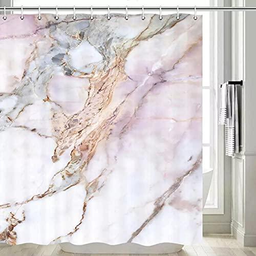Fmiljiaty Marmor Duschvorhang Grau Schwarz Stein Hell Granit Weiß & Pink Marmor Duschvorhang Grau Marmor Bad Vorhang Mauve mit 12 Kunststoffhaken-180x200cm