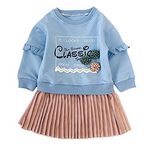 Haokaini Kleine Meisjes Losse Letter Bloemen T-Shirt Rok Lange Mouw Hoodie Gesplitste Geplooide Jurk