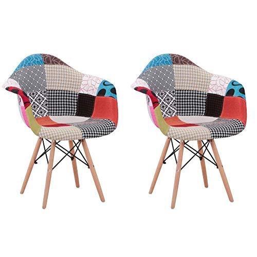 GOLDFAN Juego de 2 sillas de comedor de tela modernas redondas para cocina, salón, con reposabrazos y patas de madera