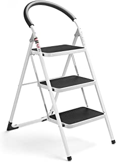 Delxo 3 Step Ladder Folding Step Stool 3 Step ladders with Handgrip Anti-Slip and Wide..