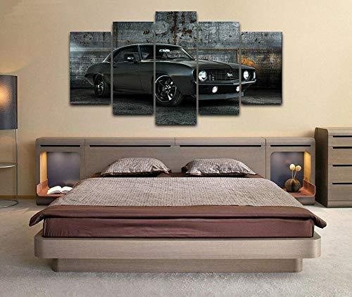 Bilder Schlafzimmer Kunstdruck XXL 5 Teilig Chevrolcar Camaro Ss 1969 Muscle Car 5 Teilig Bilder - Leinwand Bilder - Wandbilder XXL - Kunstdruck auf Leinwand - Wandkunst - für Zuhause Büro