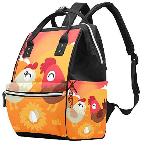 Grand sac à langer multifonction pour bébé Motif poule et coq