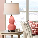 Modern Table Lamp Coral Reef Glass Double Gourd Off White Drum Shade for Living Room Family Bedroom Bedside Nightstand - Color + Plus