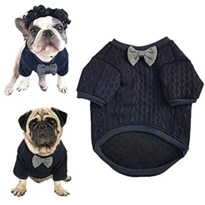 Meiwash Dog Bow tie sweater Pet Clothing Jacket Dogs Clothes Cute Pet Clothing Warm Dog Jumpers Cat Clothes Puppy French Bulldog clothes Pug clothes (L)