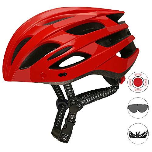 Ultralight Fietshelm, ademend Fietshelm met afneembaar vizier Goggles Fiets achterlicht Safe Intergrally voor Man Vrouw,Red