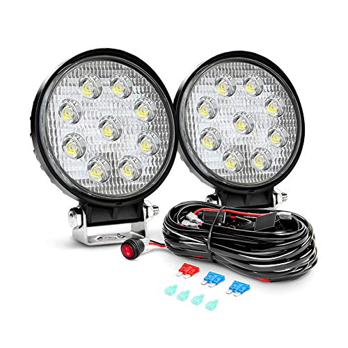 Nilight 2PCS 27W Round Flood Driving Lamp Waterproof Jeep Off Road Fog Lights with Off Road Wiring Harness- 2 Leads