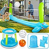 Pool Volleyball Set, 120'' Larger Inflatable Pool Float Set Include Volleyball Net & Basketball Hoops Shark Design Swimming Pool Toy Pool Volleyball Game for Kids and Adults (120'' x 43'')