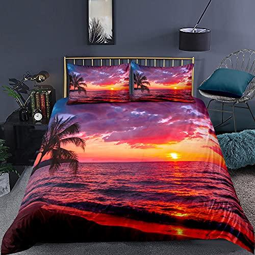 Påslakan sängkläder solnedgång, skymning, havet supermjukt och mysigt lättskött påslakan täcke täcke sängkläder set – 220 x 230 cm + 2 matchande örngott – 50 x 75 cm