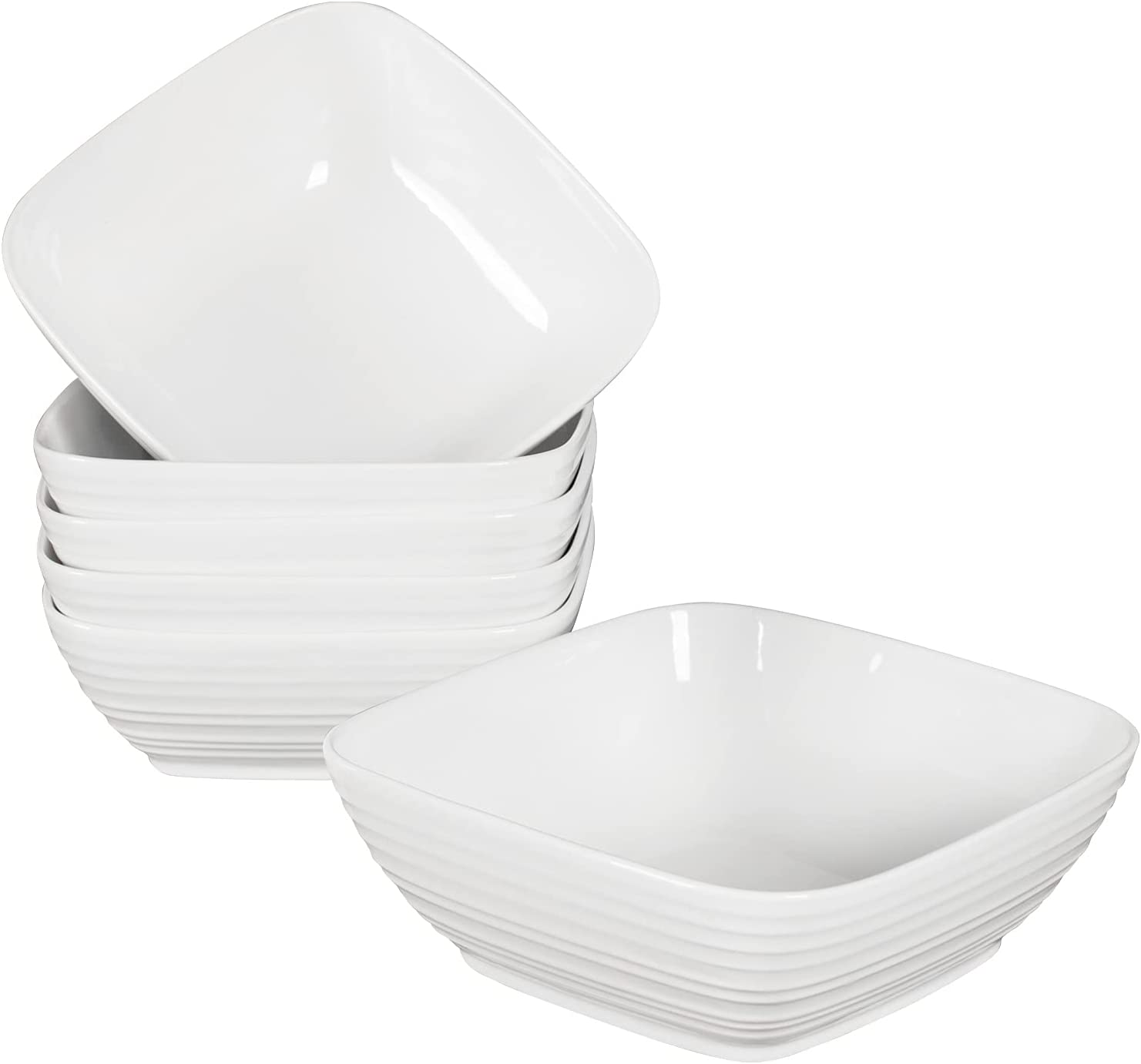 Hasense White Milwaukee Mall Square Cereal Bowls - Ounce 24 Porcelain Max 75% OFF Soup Bowl