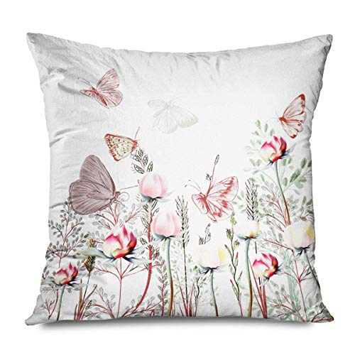 Retro Decorative Throw Pillows Cushion Cover for Bedroom Sofa Living Room Butterfly Flowers Patio Garden Summer Spring Floral Insects Furniture Pillowcase 20x20 Inch