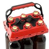 CLICK-IT BOB The Bottle Buddy Flaschenträger I Trage-Hilfe für bis zu 6 Bier-Flaschen I cooles & praktisches Gadget für Deine Party - für 0,33 l Glas-Flaschen I Bottle Carrier (rot/schwarz)