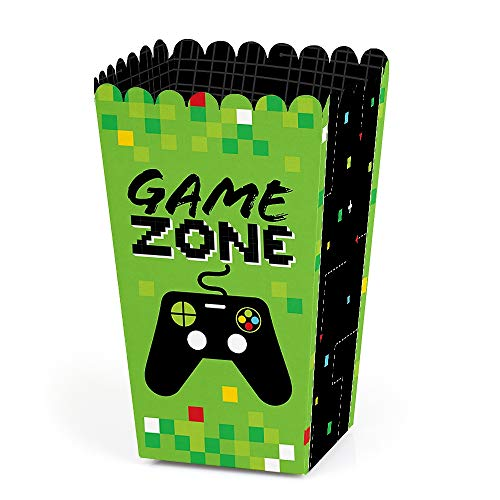 Game Zone - Pixel Video Game Party or Birthday Party Favor Popcorn Treat Boxes - Set of 12