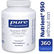Pure Encapsulations - Nutrient 950 Without Iron - Hypoallergenic Multi-Vitamin/Mineral Formula for Optimal Health* - 360 Capsules