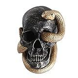 Halloween Skulls with LED Lights Realistic Looking Skulls Human Skeleton Head Skull Snake Across Ghost Head Skull for Halloween Bar Home Table Decoration