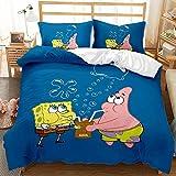 Haonsy Queen Size Bedding Set Spongebob Patrick Star Kids Girls Boys 3PCS 3D Print Comforter Cover Set 1 Duvet Cover 2 Pillowcases