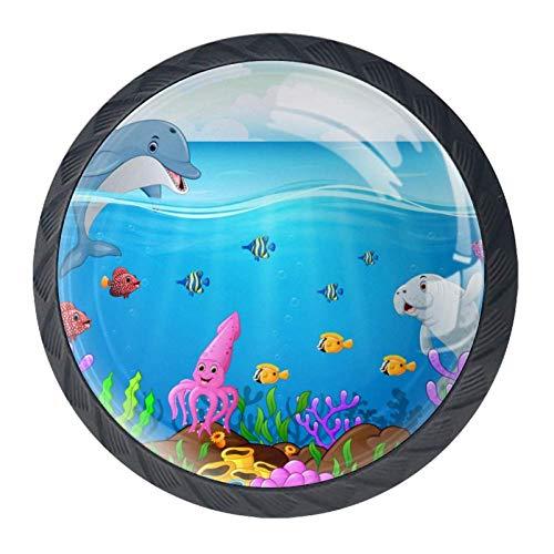Aquarel Citroen Boom Schilderen 4 Stks Kristal Glas Kast Dressoir Knopen Lade Deurkast Knopen Trek Handgrepen voor Keuken Badkamer Uniek 35mm Black07