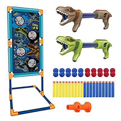 Shooting Games Dinosaur Kids Toys for 5 6 7 8 9 10+ Year Old Boys Girls,2 Foam Ball Popper Air Guns,Standing Shooting Target,20 Foam Balls & Bullets,Indoor Outdoor Games Compatible with Nerf Toy Guns