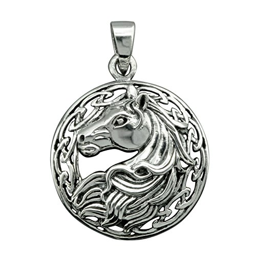 Colgante de cabeza de caballo con nudo celta de plata de ley 925, 7 g, sello BELDIAMO