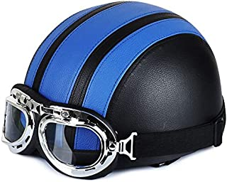 Gift for world - Newest Motorcycle Helmet With Shield Goggles Neck Scarf Street Bike PU Leather Half Helmets for Men Women CSL2018