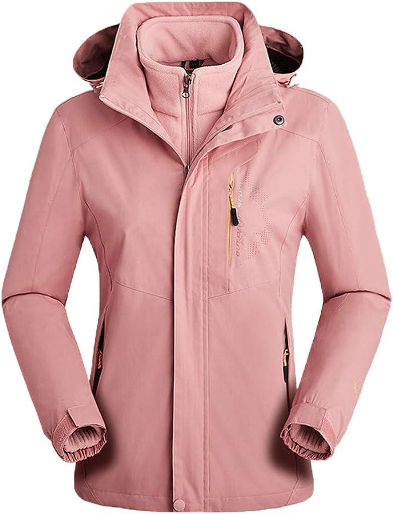 Misaky Women's Hooded Raincoat Outdoor Sport Waterproof Windproof Detachable Jacket with Inner Warm Fleece Coat