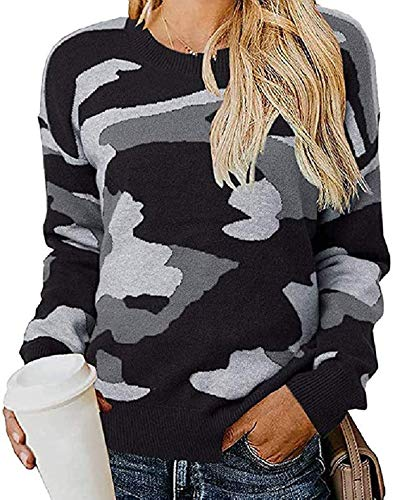 KAMEU Las mujeres sueltas de cuello redondo blusa suéteres impresos manga larga Camo Pullover Tops