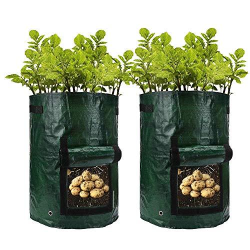 7ガロン トマト バッグ栽培 ポテト 野菜栽培 ガーデン植栽コンテナ ベランダ ガーデン 園芸 プランターバッグ 植木鉢 植物育成 通気性抜群 2個セット