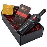"""Präsentkorb """"SCHOKOLADENLIEBE"""" mit Wein und Schokolade in einem schönen Geschenkkarton   Italienischer Rotwein und französische Schokoladentrüffel mit Caramel und Zartbitterschokolade als Geschenkset"""