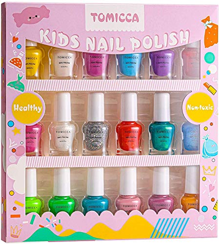 TOMICCA 18*5ml Kinder Nagellack Set, Water Based Nagellack, Non-toxic Nail Polish for Girls