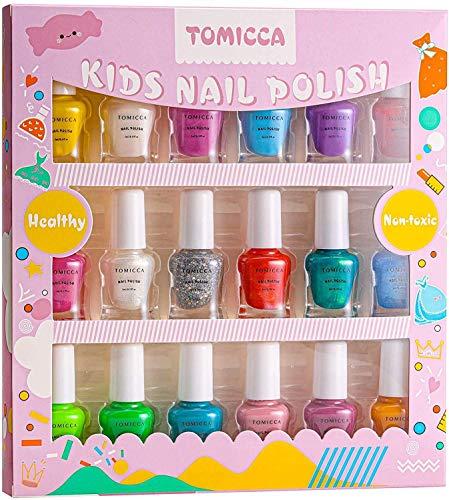 TOMICCA Kit de manicura para niños, Rainbow Candy Colors no tóxicos, Esmalte de uñas natural seguro sin olor lavable, juego de esmalte de uñas de secado rápido, juguetes para niños, Regalos pa