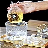 HQQ Vidrio Phnom Penh Sake Cup Estilo japonés Set de Vino 1x Botella, 4X Taza, 1x cálido (Hielo) Cubo