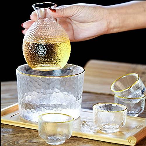 Botellas y juegos de sake Vidrio Phnom Penh Sake Cup Estilo japonés Set de vino 1x botella, 4x taza, 1x cálido (hielo) cubo