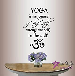 Wall Vinyl Decal Home Decor Art Sticker Yoga Is The Journey Of The Self, Through The Self, To The Self Phrase Quote Om Sign Yoga Sport Room Removable Stylish Mural Unique Design 406