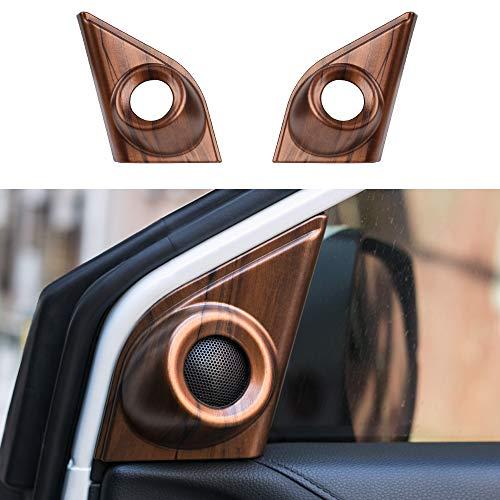 Thenice for CRV A-Pillar Speaker Rings Peach Wood Grain Front Door Horn Loudspeaker Decorations Circle Trims for Honda CR-V 2017 2018 2019 2020 2021