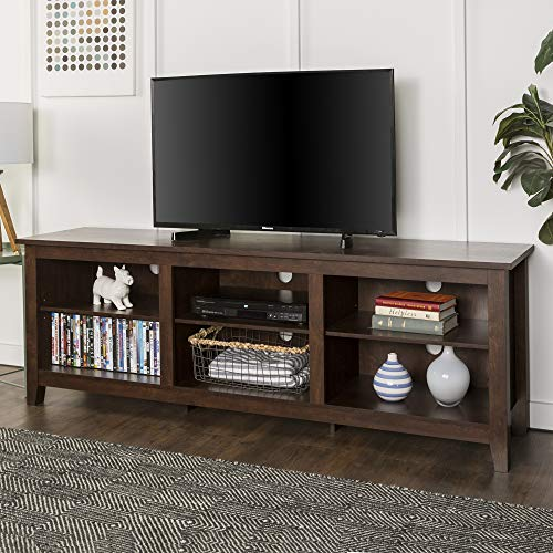 "WE Furniture 70"" Wood Media TV Stand Storage Console - Traditional Brown"