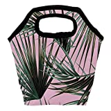 Heeh - Bolsa térmica para el almuerzo, diseño de hojas de palma, color verde y rosa