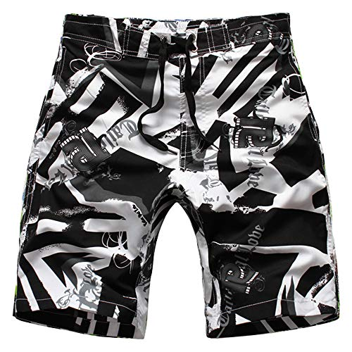 Echinodon Jungen Badeshort Sweatshorts mit Print Badehose Strand Shorts Beachshorts B-Weiß
