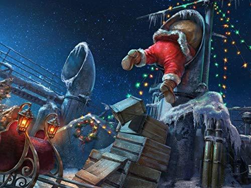LIZELUO Puzzle 1000 Teile DIY Holz Puzzle Weihnachtsmann Im Schornstein Freizeit Creative Kreuzworträtsel Spiel Kind Puzzle Spielzeug Geburtstag Festival Einzigartiges Geschenk