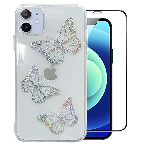 LUSAMYE iPhone 11 Case with Screen Protector, Clear Cute Butterfly Design Soft TPU Electroplated Cover Bling Glitter Cool Slim Trendy Pattern for Girl Women Apple iPhone 11 Phone Case - Butterfly