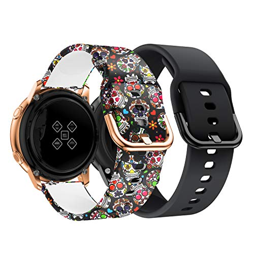 Syxinn Compatible con Galaxy Watch Active/Active2 40mm 44mm Correa de Reloj 20mm Silicona Banda de Reemplazo Pulsera para Galaxy Watch 42mm/Gear Sport/Gear S2 Classic/Ticwatch 2 (B, 2 Paquete)